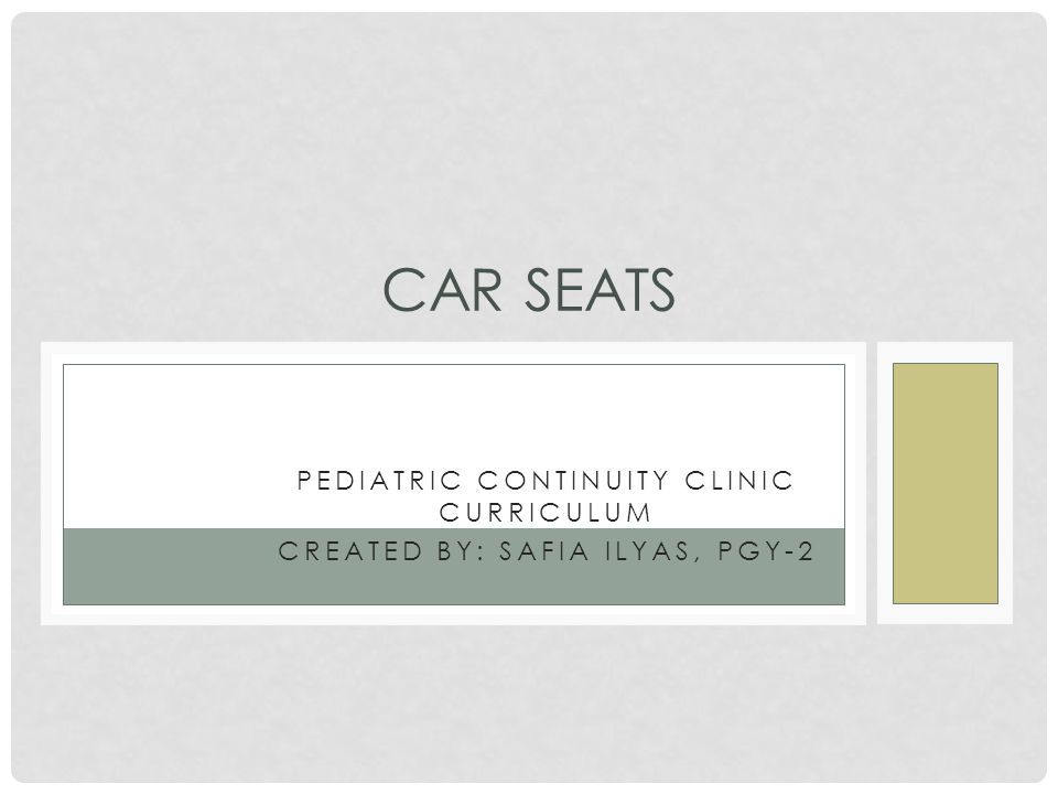 PEDIATRIC CONTINUITY CLINIC CURRICULUM CREATED BY: SAFIA ILYAS, PGY-2 CAR SEATS