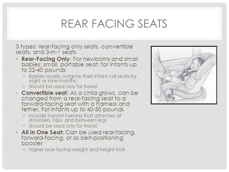 REAR FACING SEATS 3 types: rear-facing only seats, convertible seats, and 3-in-1 seats Rear-Facing Only : For newborns and small babies; small, portable seat; for infants up to 22-40 pounds Babies usually outgrow their infant car seats by eight or nine months.