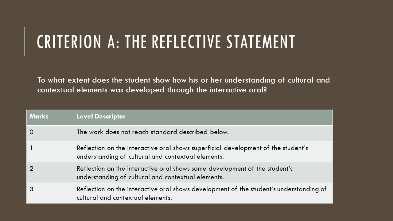 CRITERION A: THE REFLECTIVE STATEMENT To what extent does the student show how his or her understanding of cultural and contextual elements was develo