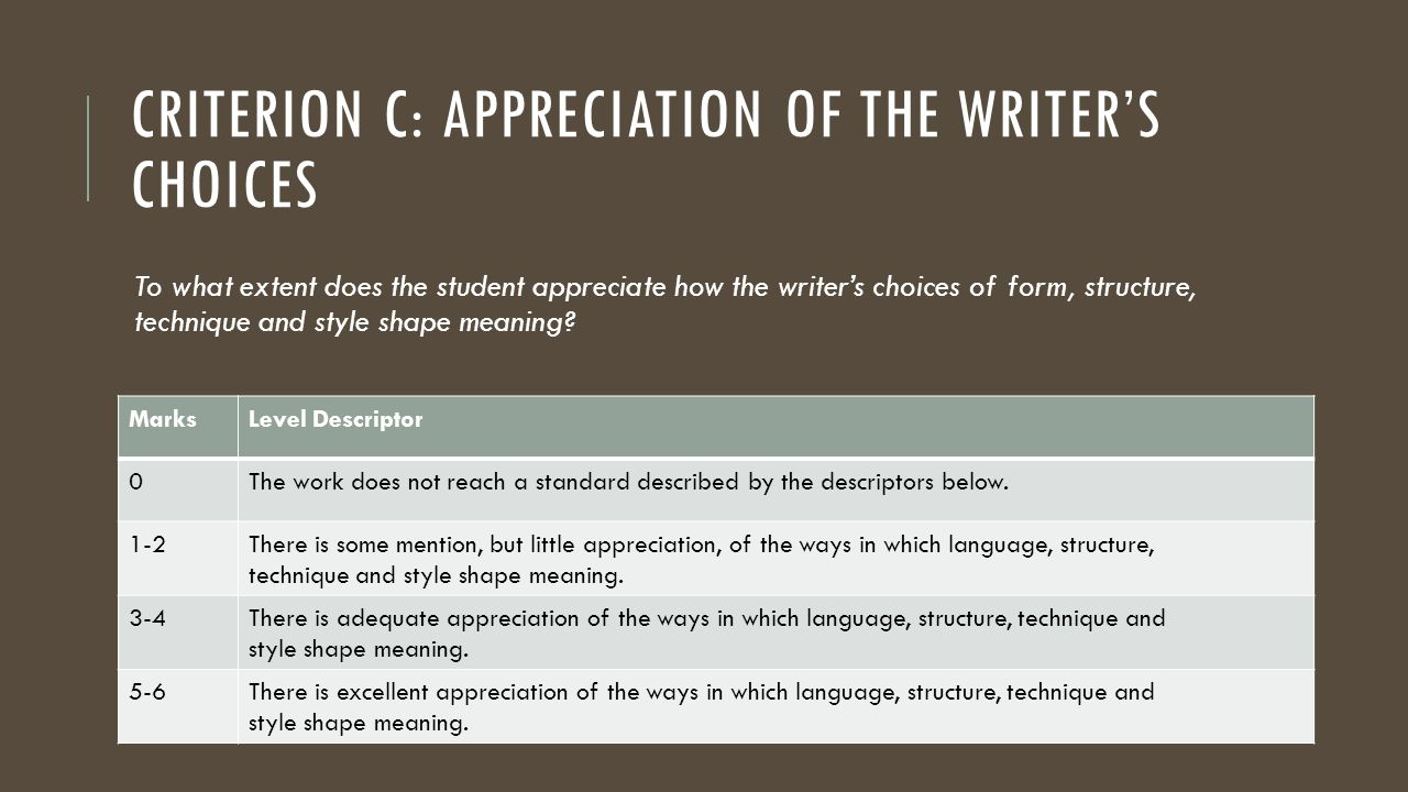 CRITERION C: APPRECIATION OF THE WRITER'S CHOICES To what extent does the student appreciate how the writer's choices of form, structure, technique an