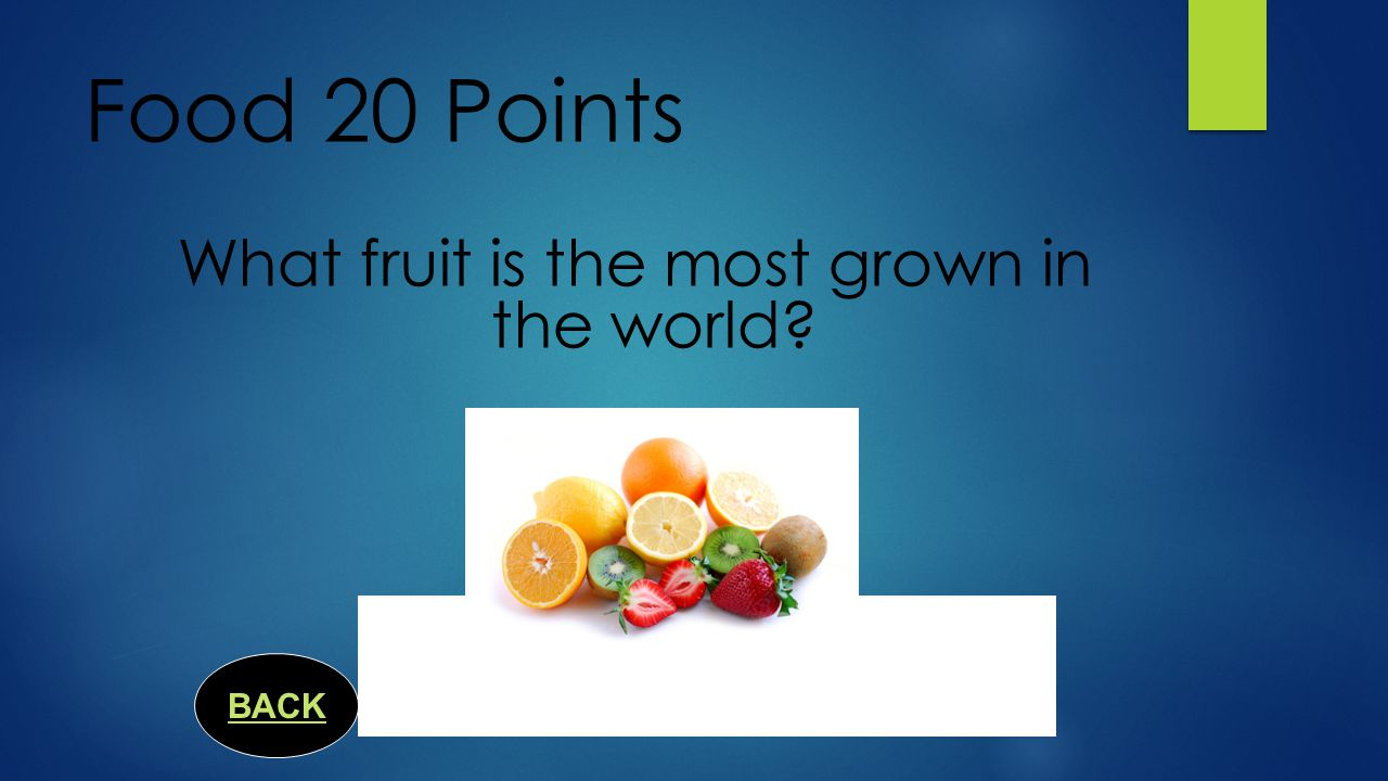 Food 15 Points What continent did the pineapple originally come from? South Ameica BACK
