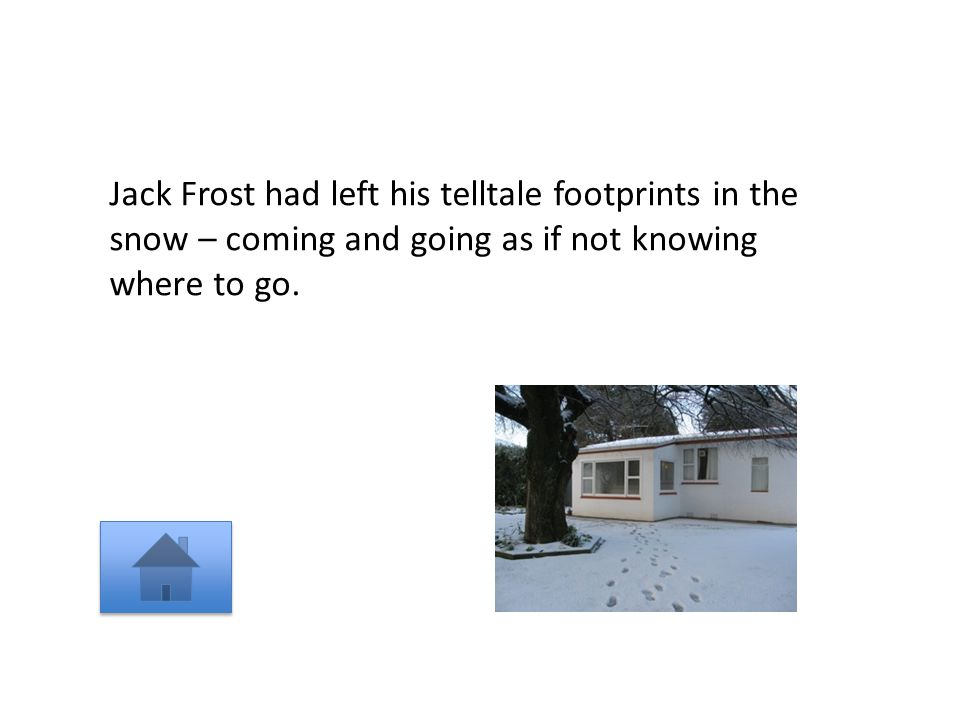 Jack Frost had left his telltale footprints in the snow – coming and going as if not knowing where to go.