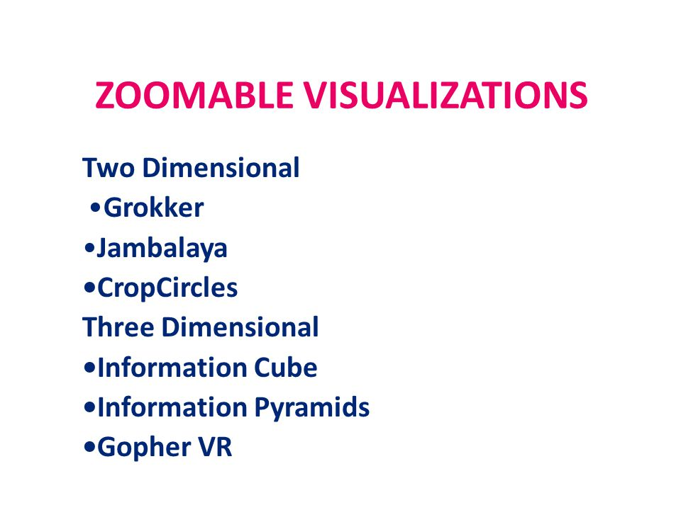 ZOOMABLE VISUALIZATIONS Two Dimensional Grokker Jambalaya CropCircles Three Dimensional Information Cube Information Pyramids Gopher VR