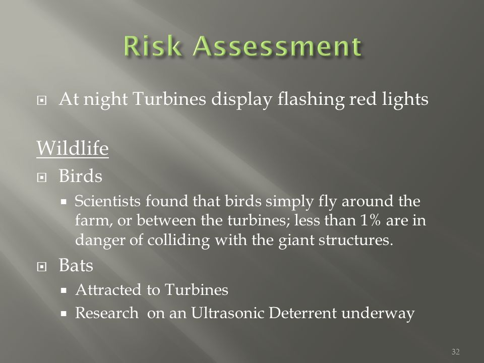  At night Turbines display flashing red lights Wildlife  Birds  Scientists found that birds simply fly around the farm, or between the turbines; less than 1% are in danger of colliding with the giant structures.