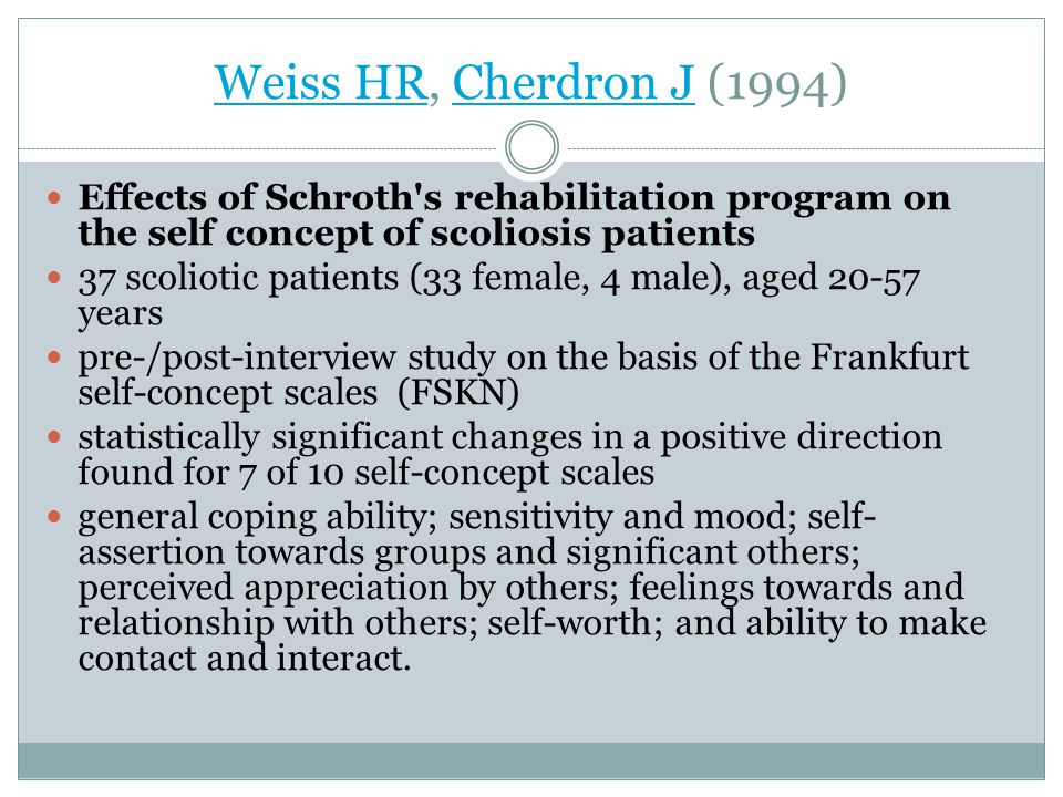 Weiss HRWeiss HR, Cherdron J (1994)Cherdron J Effects of Schroth s rehabilitation program on the self concept of scoliosis patients 37 scoliotic patients (33 female, 4 male), aged 20-57 years pre-/post-interview study on the basis of the Frankfurt self-concept scales (FSKN) statistically significant changes in a positive direction found for 7 of 10 self-concept scales general coping ability; sensitivity and mood; self- assertion towards groups and significant others; perceived appreciation by others; feelings towards and relationship with others; self-worth; and ability to make contact and interact.