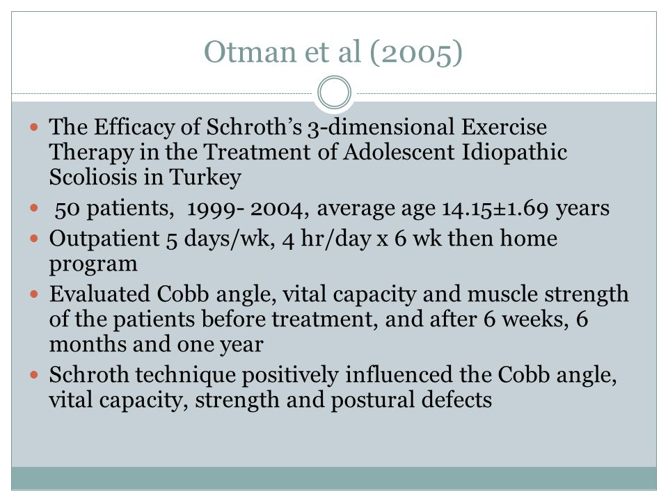 Otman et al (2005) The Efficacy of Schroth's 3-dimensional Exercise Therapy in the Treatment of Adolescent Idiopathic Scoliosis in Turkey 50 patients, 1999- 2004, average age 14.15±1.69 years Outpatient 5 days/wk, 4 hr/day x 6 wk then home program Evaluated Cobb angle, vital capacity and muscle strength of the patients before treatment, and after 6 weeks, 6 months and one year Schroth technique positively influenced the Cobb angle, vital capacity, strength and postural defects