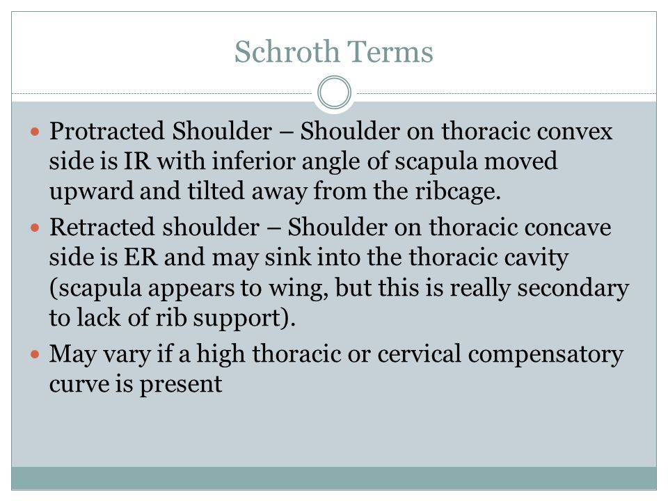 Schroth Terms Protracted Shoulder – Shoulder on thoracic convex side is IR with inferior angle of scapula moved upward and tilted away from the ribcage.