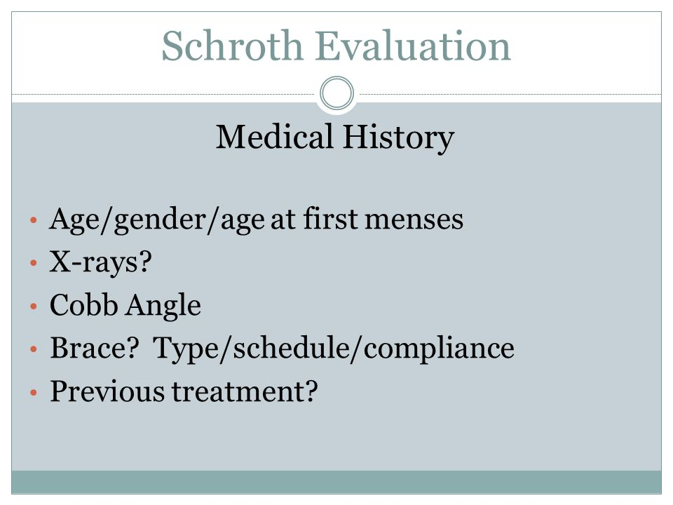 Schroth Evaluation Medical History Age/gender/age at first menses X-rays.