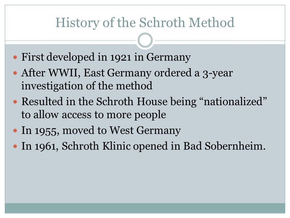 History of the Schroth Method First developed in 1921 in Germany After WWII, East Germany ordered a 3-year investigation of the method Resulted in the Schroth House being nationalized to allow access to more people In 1955, moved to West Germany In 1961, Schroth Klinic opened in Bad Sobernheim.