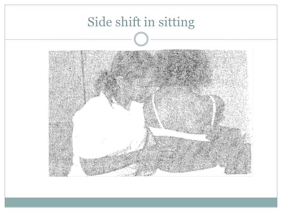 Side shift in sitting