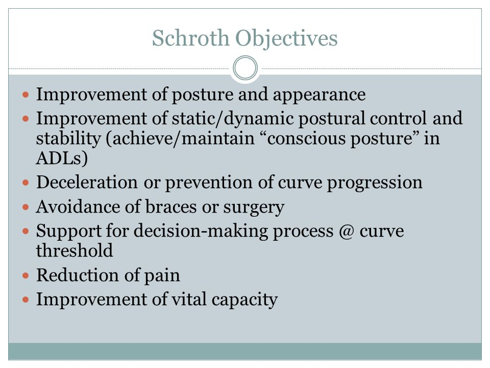 Schroth Objectives Improvement of posture and appearance Improvement of static/dynamic postural control and stability (achieve/maintain conscious posture in ADLs) Deceleration or prevention of curve progression Avoidance of braces or surgery Support for decision-making process @ curve threshold Reduction of pain Improvement of vital capacity