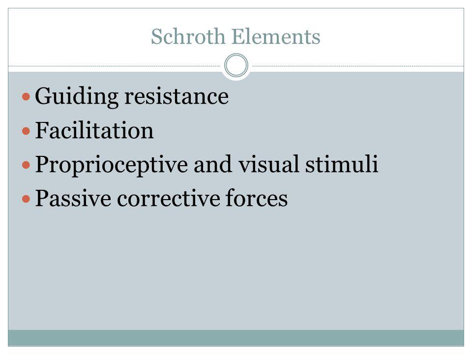 Schroth Elements Guiding resistance Facilitation Proprioceptive and visual stimuli Passive corrective forces