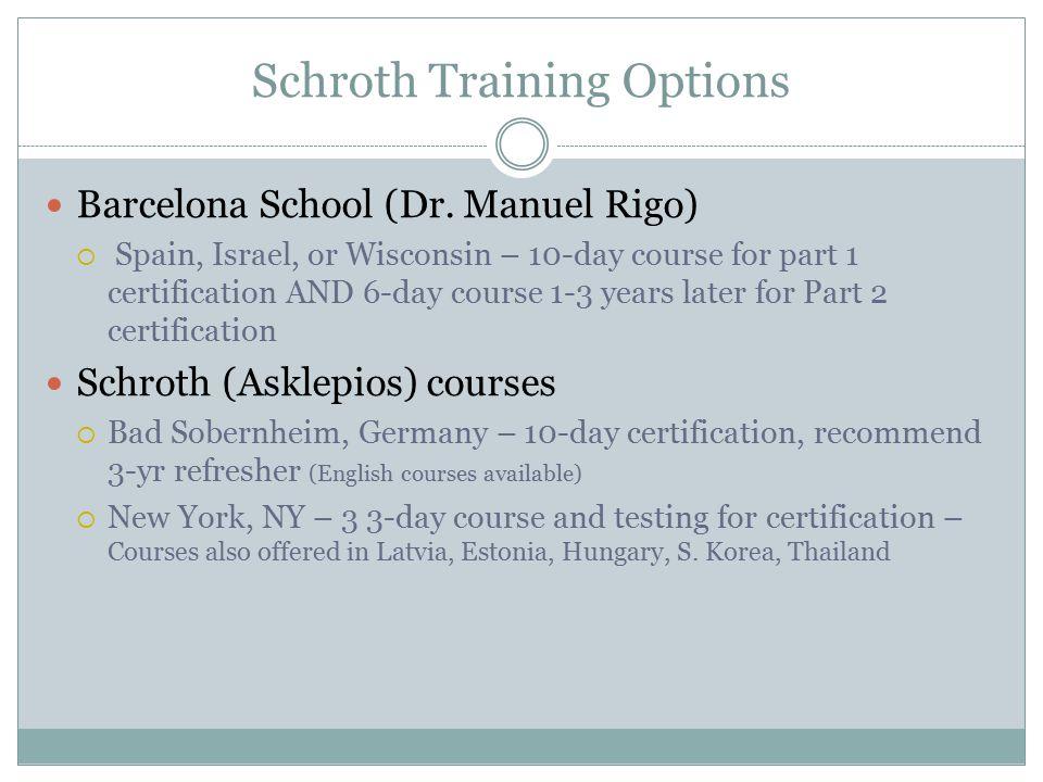 Schroth Training Options Barcelona School (Dr.