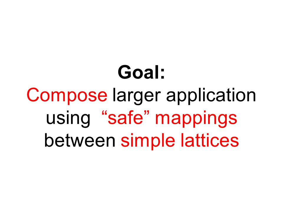 Goal: Compose larger application using safe mappings between simple lattices