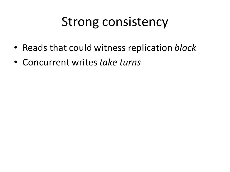 Strong consistency Reads that could witness replication block Concurrent writes take turns