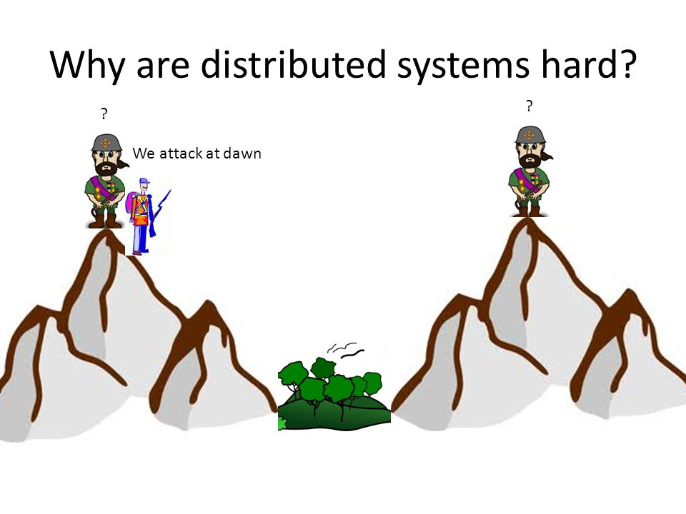 Why are distributed systems hard? Wait for my signal Then attack!