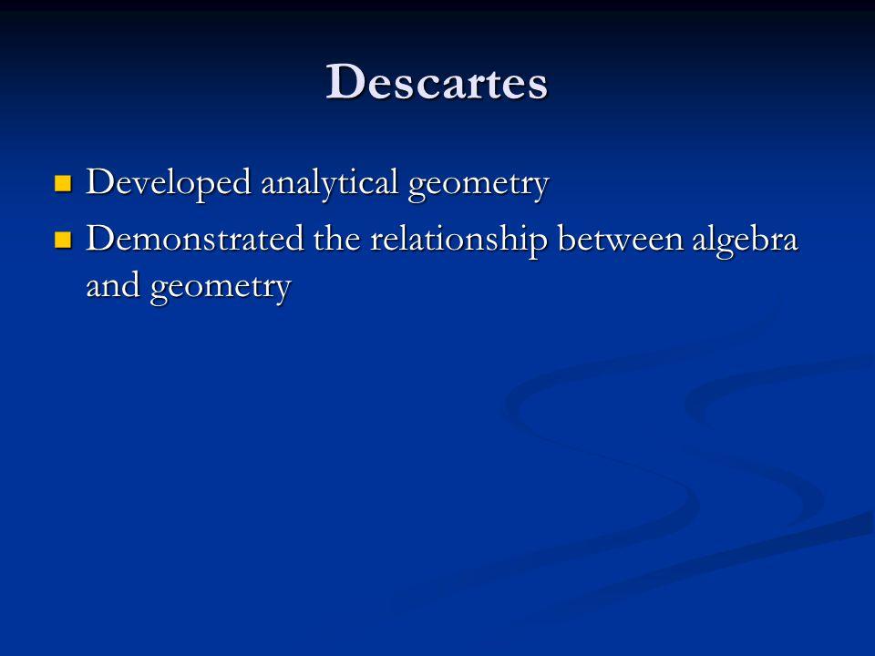 Descartes Developed analytical geometry Developed analytical geometry Demonstrated the relationship between algebra and geometry Demonstrated the relationship between algebra and geometry