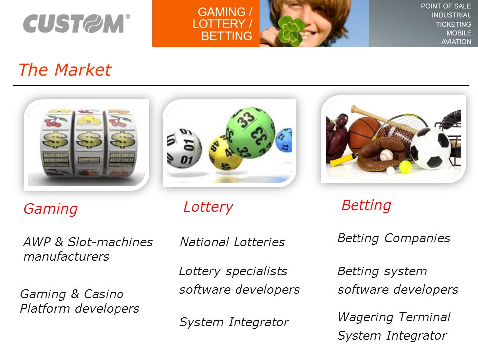 The Market Gaming Lottery Betting National Lotteries System Integrator Lottery specialists software developers Betting Companies Betting system software developers AWP & Slot-machines manufacturers Gaming & Casino Platform developers Wagering Terminal System Integrator