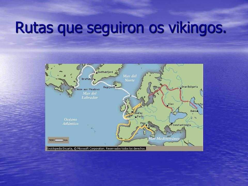Rutas que seguiron os vikingos.