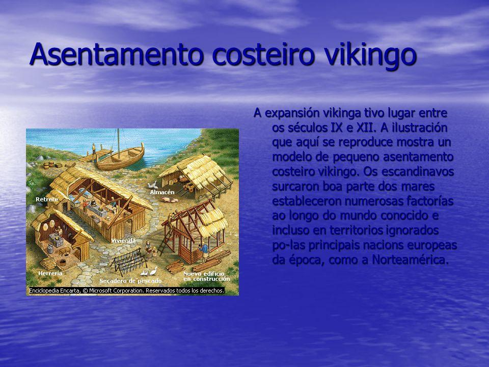 Asentamento costeiro vikingo A expansión vikinga tivo lugar entre os séculos IX e XII. A ilustración que aquí se reproduce mostra un modelo de pequeno