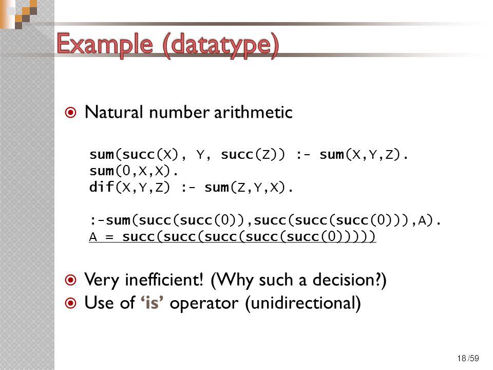 /59  Natural number arithmetic sum(succ(X), Y, succ(Z)) :- sum(X,Y,Z).