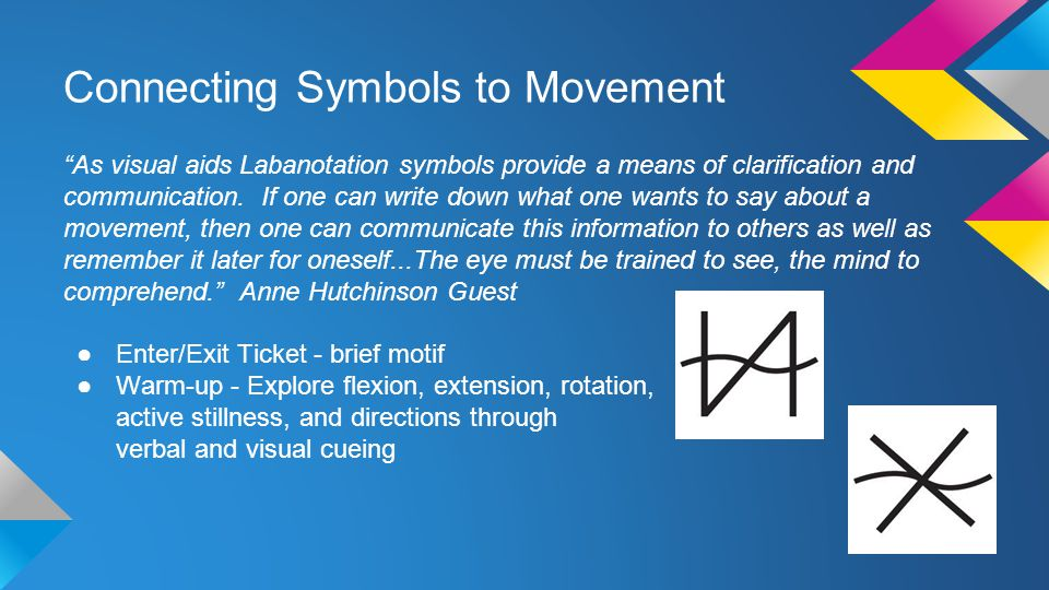 Connecting Symbols to Movement As visual aids Labanotation symbols provide a means of clarification and communication.