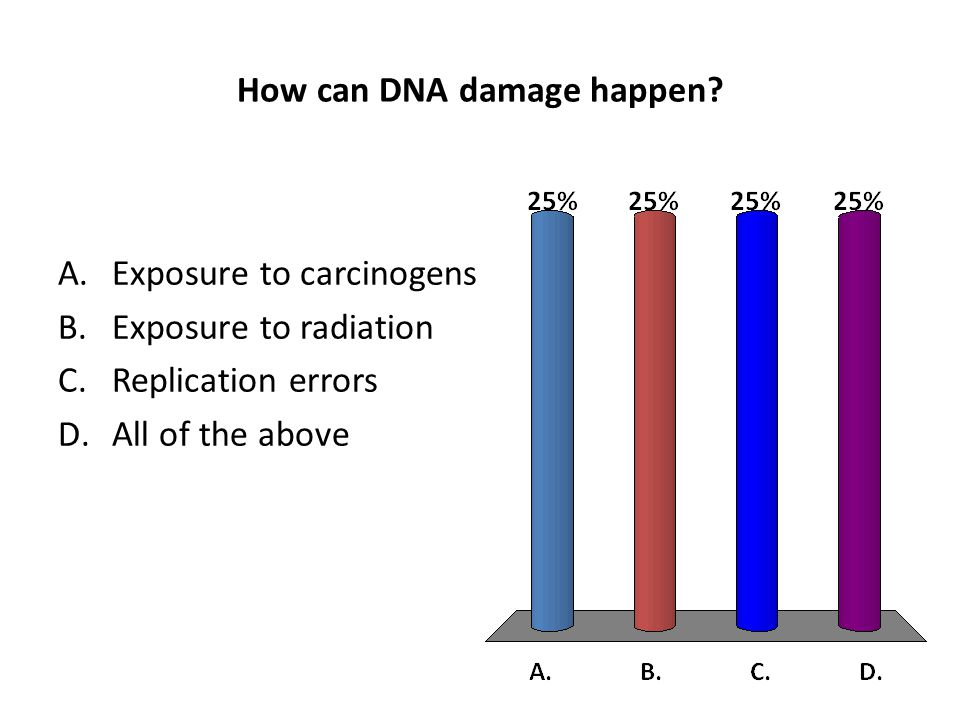 How can DNA damage happen? A.Exposure to carcinogens B.Exposure to radiation C.Replication errors D.All of the above