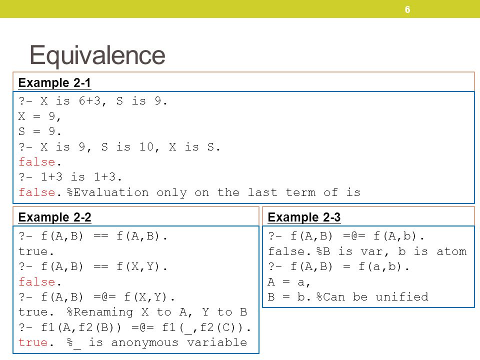 6 Equivalence Example 2-1 - X is 6+3, S is 9. X = 9, S = 9.