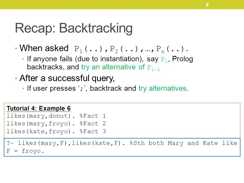 9 Recap: Backtracking When asked P 1 (..),P 2 (..),…,P n (..).