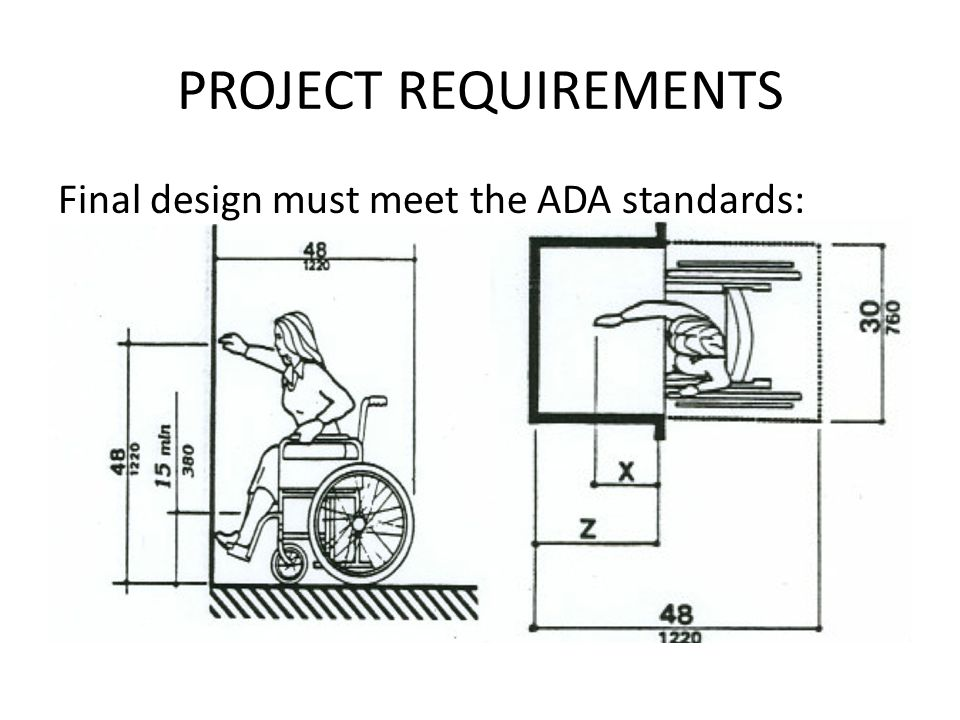 PROJECT REQUIREMENTS Final design must meet the ADA standards: