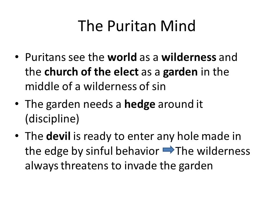 The Puritan Mind Puritans see the world as a wilderness and the church of the elect as a garden in the middle of a wilderness of sin The garden needs a hedge around it (discipline) The devil is ready to enter any hole made in the edge by sinful behavior The wilderness always threatens to invade the garden