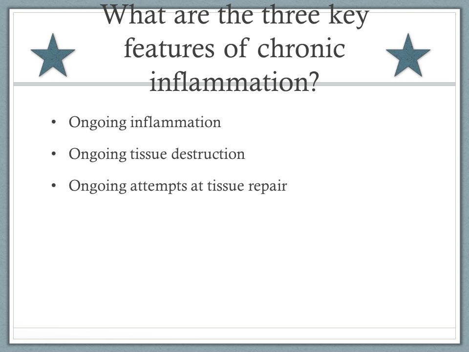 What are the three key features of chronic inflammation.