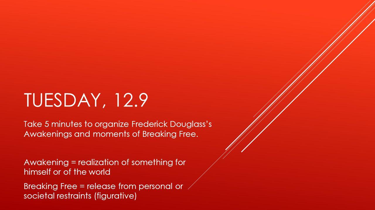 TUESDAY, 12.9 Take 5 minutes to organize Frederick Douglass's Awakenings and moments of Breaking Free.