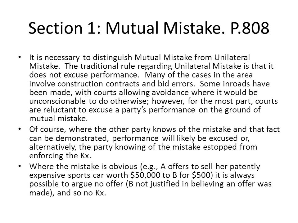 Section 1: Mutual Mistake.