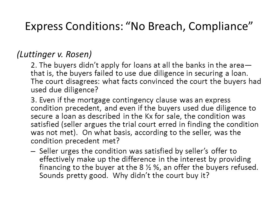 Express Conditions: No Breach, Compliance (Luttinger v.