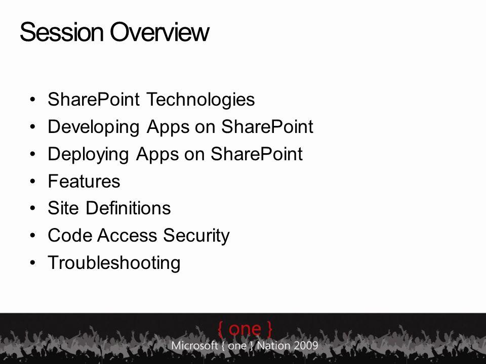SharePoint Technologies.NET 2.0 Framework ASP.NETADO.NETSecurity.NET 3.0 Framework Workflow WSS & MOSS UI Windows API OS.NET SharePoint API … Web Services SharePoint UI Custom Solutions 3rd Party In house WSS Object Model MOSS Object Model