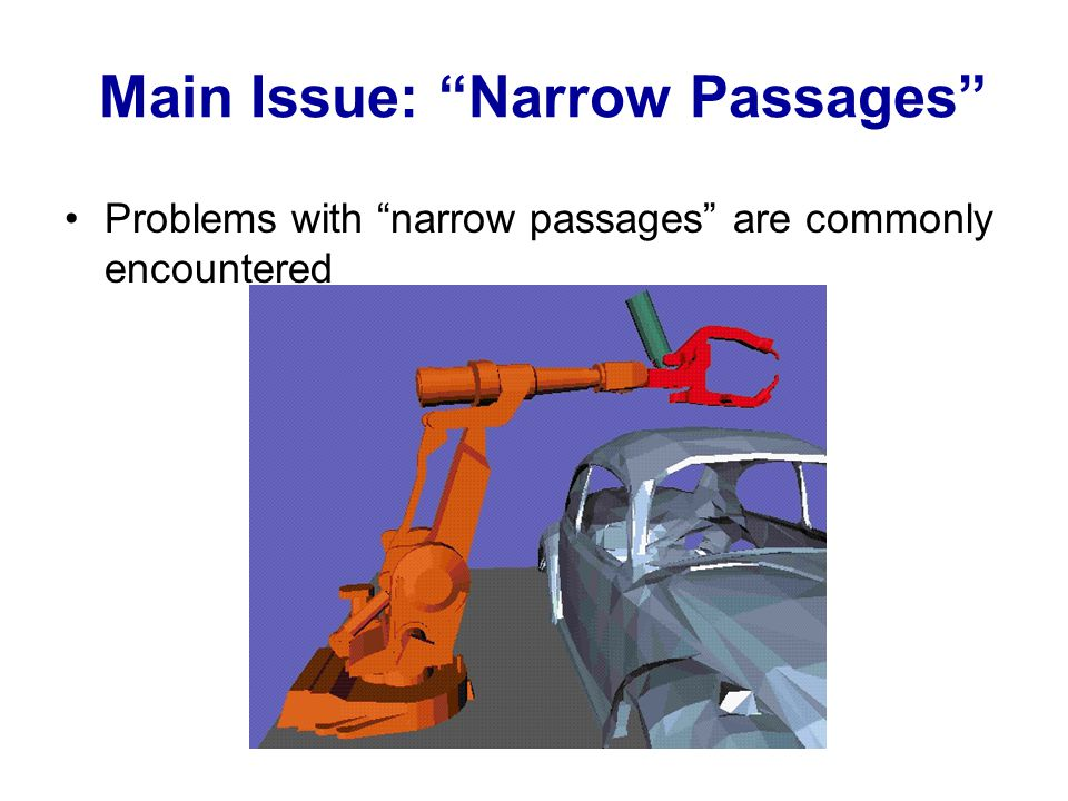 Problems with narrow passages are commonly encountered Main Issue: Narrow Passages