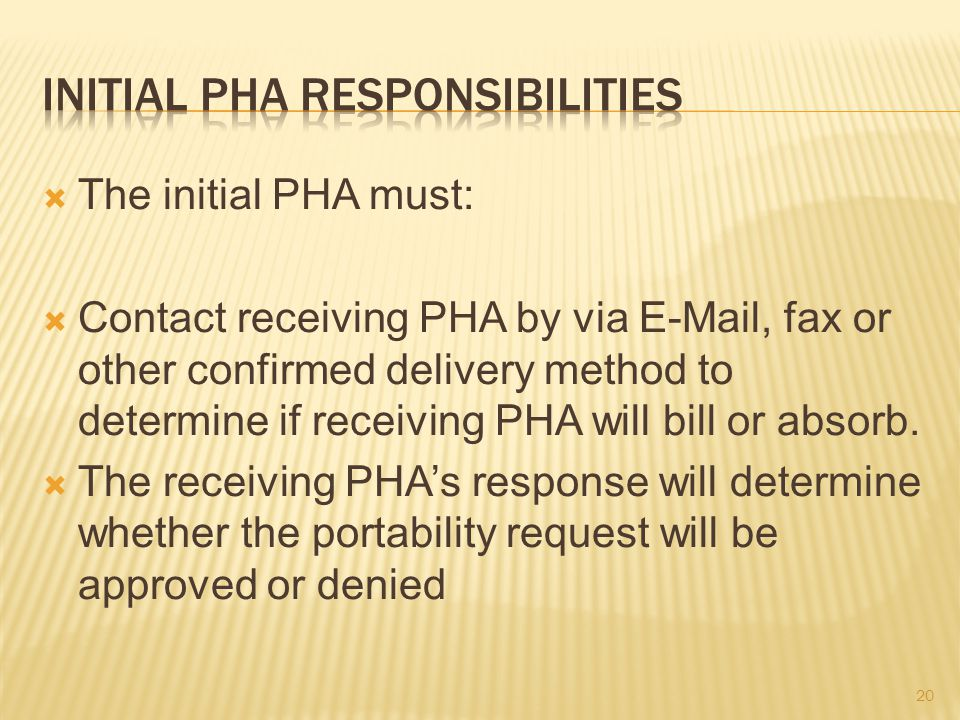  The initial PHA must:  Contact receiving PHA by via E-Mail, fax or other confirmed delivery method to determine if receiving PHA will bill or absorb.