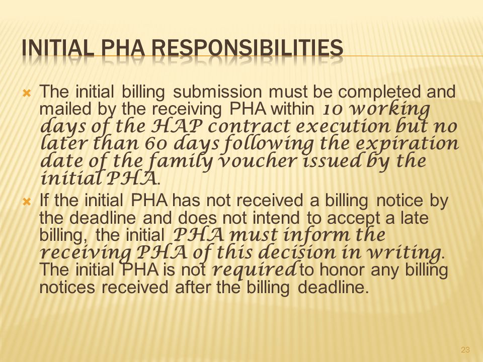 The initial billing submission must be completed and mailed by the receiving PHA within 10 working days of the HAP contract execution but no later than 60 days following the expiration date of the family voucher issued by the initial PHA.