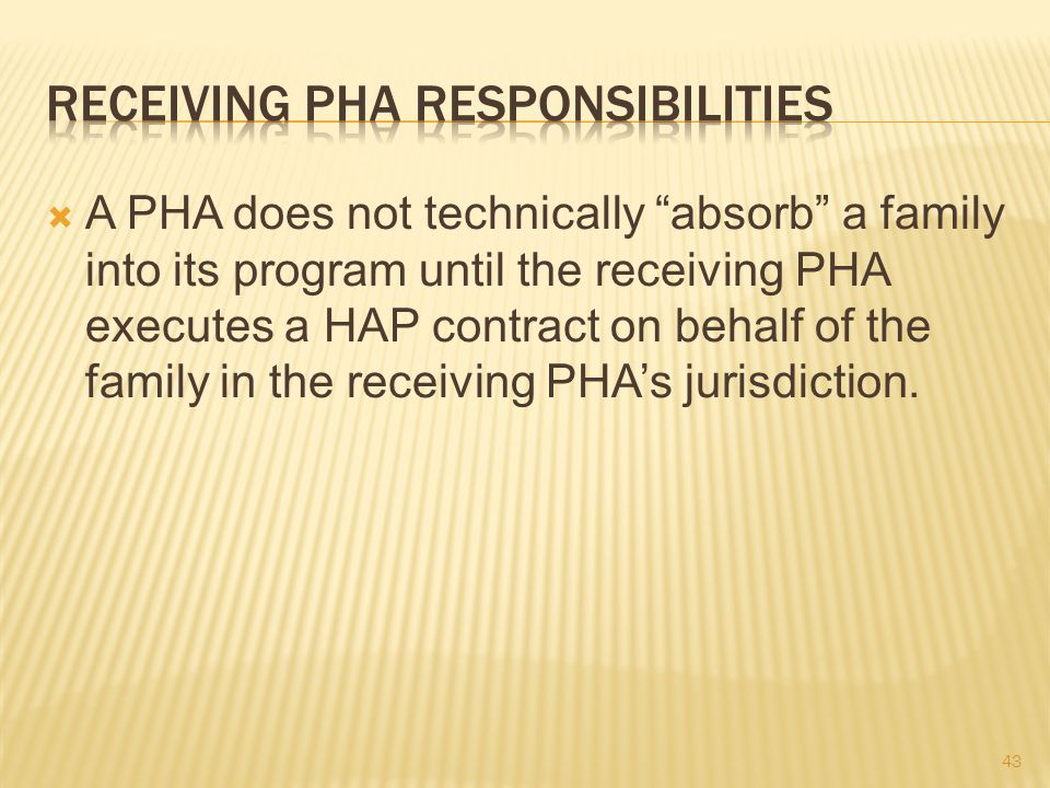 A PHA does not technically absorb a family into its program until the receiving PHA executes a HAP contract on behalf of the family in the receiving PHA's jurisdiction.