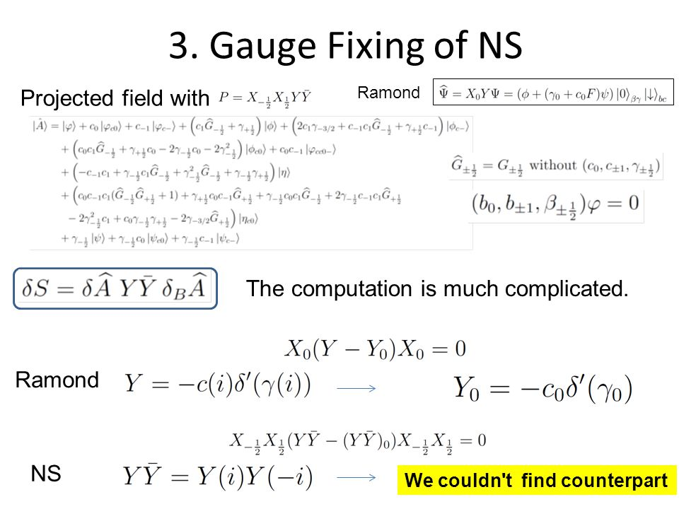 3. Gauge Fixing of NS Projected field with The computation is much complicated.