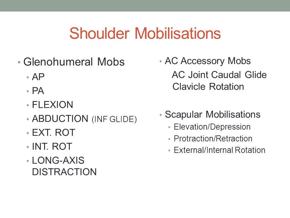 Shoulder Mobilisations Glenohumeral Mobs AP PA FLEXION ABDUCTION (INF GLIDE) EXT.