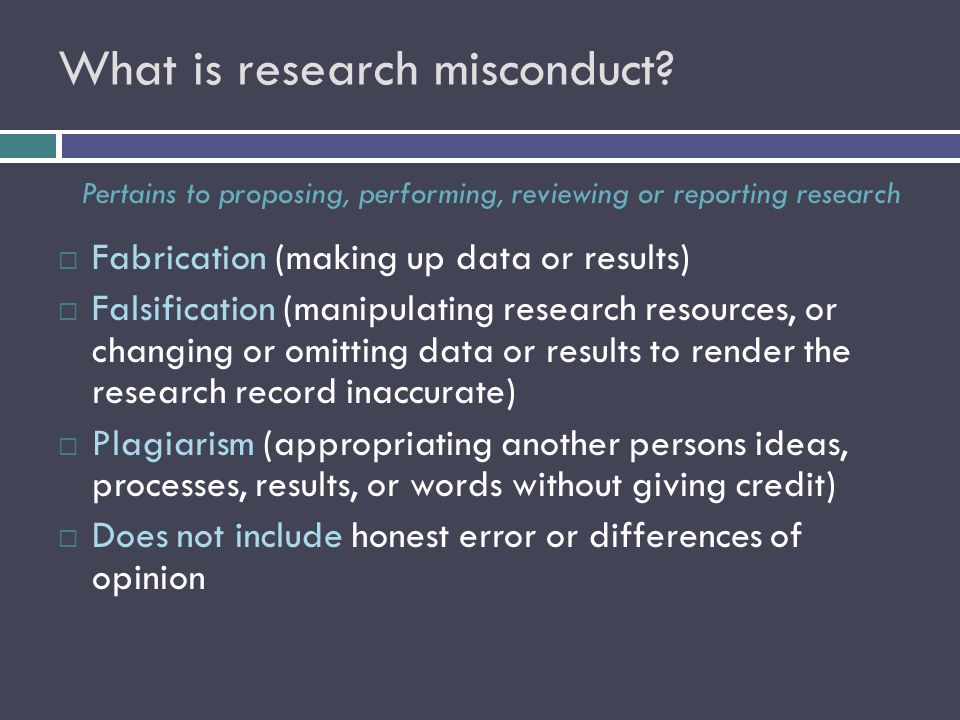 What is research misconduct.