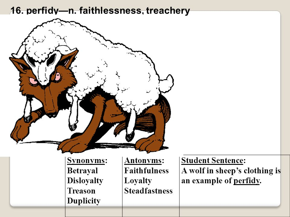 Synonyms: Betrayal Disloyalty Treason Duplicity Antonyms: Faithfulness Loyalty Steadfastness Student Sentence: A wolf in sheep's clothing is an exampl