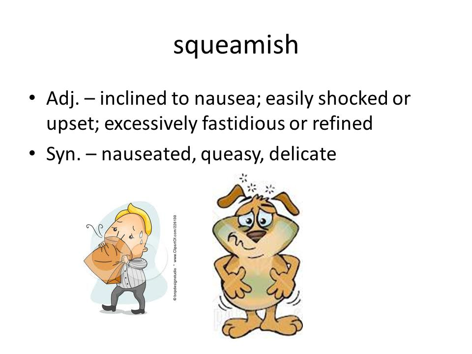 squeamish Adj. – inclined to nausea; easily shocked or upset; excessively fastidious or refined Syn. – nauseated, queasy, delicate