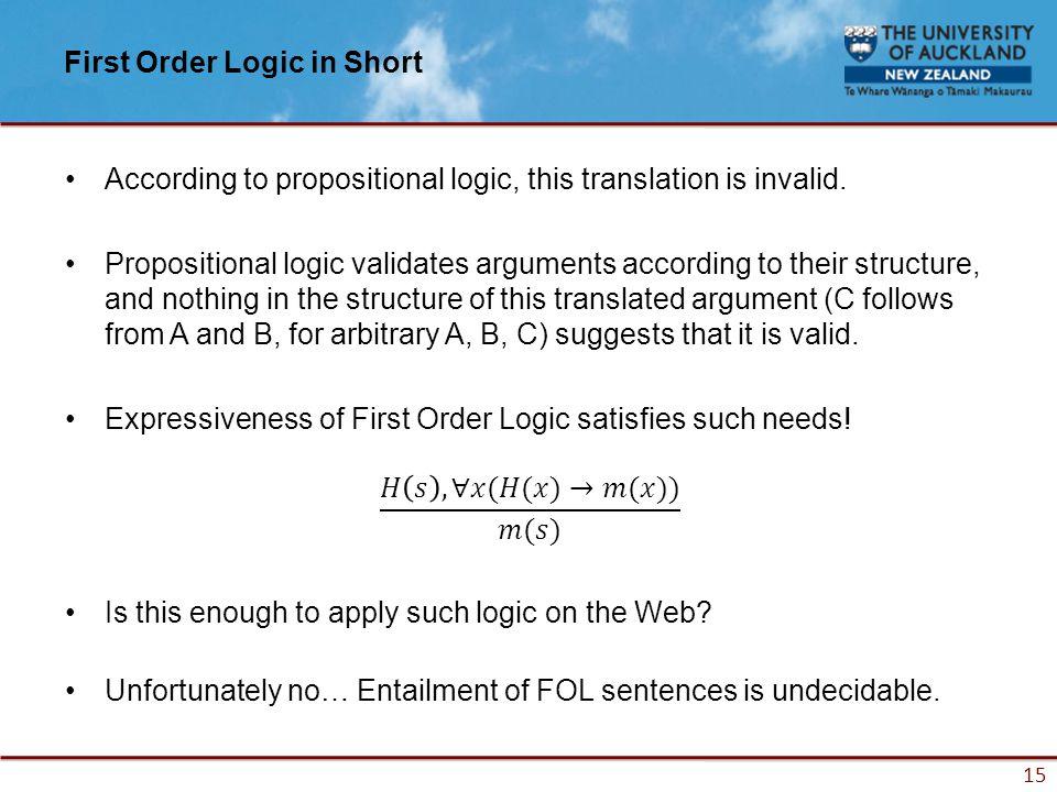 15 First Order Logic in Short