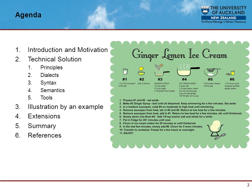 3 Agenda 1.Introduction and Motivation 2.Technical Solution 1.Principles 2.Dialects 3.Syntax 4.Semantics 5.Tools 3.Illustration by an example 4.Extensions 5.Summary 6.References