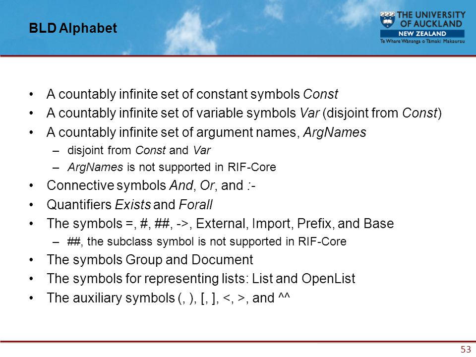 53 BLD Alphabet A countably infinite set of constant symbols Const A countably infinite set of variable symbols Var (disjoint from Const) A countably infinite set of argument names, ArgNames –disjoint from Const and Var –ArgNames is not supported in RIF-Core Connective symbols And, Or, and :- Quantifiers Exists and Forall The symbols =, #, ##, ->, External, Import, Prefix, and Base –##, the subclass symbol is not supported in RIF-Core The symbols Group and Document The symbols for representing lists: List and OpenList The auxiliary symbols (, ), [, ],, and ^^