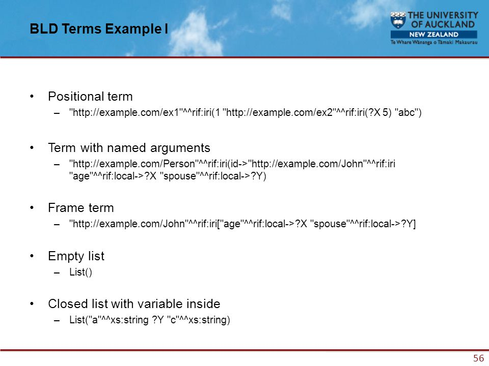 56 BLD Terms Example I Positional term – http://example.com/ex1 ^^rif:iri(1 http://example.com/ex2 ^^rif:iri(?X 5) abc ) Term with named arguments – http://example.com/Person ^^rif:iri(id-> http://example.com/John ^^rif:iri age ^^rif:local->?X spouse ^^rif:local->?Y) Frame term – http://example.com/John ^^rif:iri[ age ^^rif:local->?X spouse ^^rif:local->?Y] Empty list –List() Closed list with variable inside –List( a ^^xs:string ?Y c ^^xs:string)