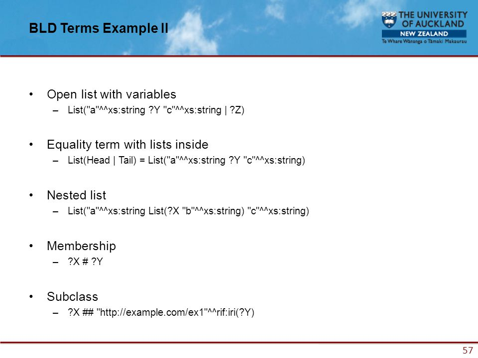 57 BLD Terms Example II Open list with variables –List( a ^^xs:string ?Y c ^^xs:string | ?Z) Equality term with lists inside –List(Head | Tail) = List( a ^^xs:string ?Y c ^^xs:string) Nested list –List( a ^^xs:string List(?X b ^^xs:string) c ^^xs:string) Membership –?X # ?Y Subclass –?X ## http://example.com/ex1 ^^rif:iri(?Y)
